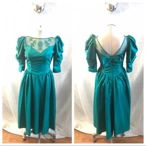 Vintage 80s 90s Puffy Sleeve Prom Bridesmaid Dress